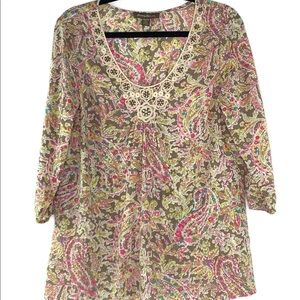 Tommy Bahama Paisley Top w/ Embellished Neck - XS
